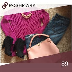 Worn once! Fuchsia Lattice Sweater Worn once! Fuchsia Lattice Sweater Rue 21 Sweaters