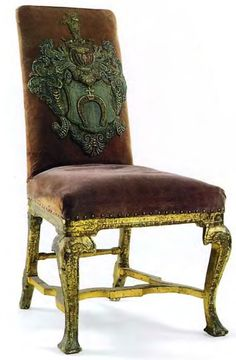 Chair, Russia. Mid 18th century. With the Streshnev coat-of-arms on the back.