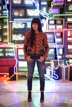 I'm wearing my favorite Proenza Schouler Black and Orange Tweed Jacket, ripped jeans, and BCBG mesh booties at the Nam June Paik Installation at the Smithsonian National Portrait Gallery. Click to see more :)