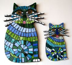 TWO Funky Blue Whiskered Cats Mosaic Tile by MosaicMademoiselle, $179.00