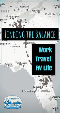 Find out how we happy campers balance our work, travel, and RV life. We provide tips on how to transition into a work from home position and other ways to stay position and live the life of your dreams! #rvcamping #fulltimervliving #rvwithkids
