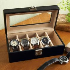 A definite must have for the hubby's watch collection... Personalized Leather Watch Box Valet Case