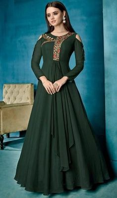 Green Color Embroidered Georgette Gown - All About Designer Gowns, Indian Designer Wear, Designer Anarkali, Gown Pattern, Dress Patterns, One Piece Gown, Anarkali Dress, Long Anarkali, Lehenga Choli