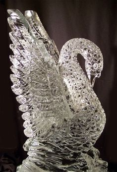 Crystal Swan ice sculpture