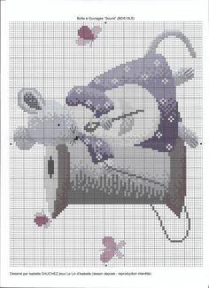 ru / Фото - Boîte à Ouvrage Souris - - Just Cross Stitch, Cross Stitch Animals, Cross Stitch Charts, Cross Stitch Designs, Cross Stitch Patterns, Cross Stitching, Cross Stitch Embroidery, Embroidery Patterns, Baby Cocoon Pattern
