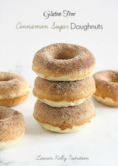 The cake-like doughnuts are lightly spiced with cinnamon and nutmeg, rolled in cinnamon sugar. and gluten-free. www.laurenkellynutrition.com
