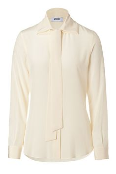 Lend a chic retro vibe to workweek looks with Moschino's spread collar tie-neck silk blouse #Stylebop