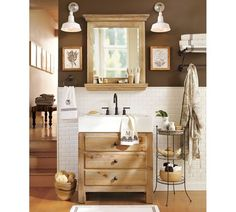 Perfect table for extra storage between our vanities in the master bath