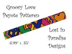 Peyote Bracelet Pattern - Groovy Love - Peyote Stitch Pattern (Buy any 2 and get one Free). $6.50, via Etsy.