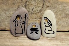 Items similar to STONE NATIVITY SET  Engraved Natural Rock on Etsy