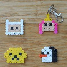 Adventure Time keyrings / fridge magnets / pin badges | Hama Perler bead designs | Jake, Finn, Princess Bubblegum & Gunter | Handmade