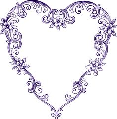 Free Images - Fancy Vintage Purple Heart Clip Art