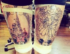 Amazing thigh tattoo, Disney, Minnie and Mickey, the castle, and sleeping beauty and her prince!