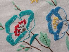 Stunning Vintage Hand Embroidered  Floral Linen Table Cloth