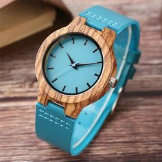MEN'S / WOMEN'S WOOD WATCH WITH TURQOISE BAND & DIAL