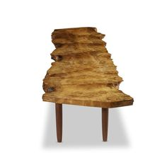 """Artist: MIRA NAKASHIMA (B. 1942). Description: SPECIAL MYRTLE BURL """"Q"""" BENCH, NEW HOPE, PENNSYLVANIA, 2010. Myrtle burl, walnut   Signed and dated: """"Mira Nakashima September 7, 2011""""   Signed with client''s name: """"STUTZMAN"""". H: 17, W: 90, D: 23 in. Image 4 of 6."""
