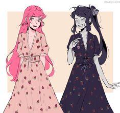 Pretty Art, Cute Art, Yuri, Marceline And Princess Bubblegum, Strawberry Dress, Cartoon Ships, Bubbline, Cartoon Art Styles, Adventure Time Art