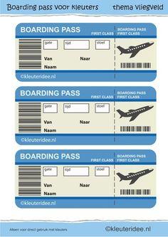 Boarding pass voor themahoek vliegveld, juf Petra van kleuteridee, boarding pass for role play.