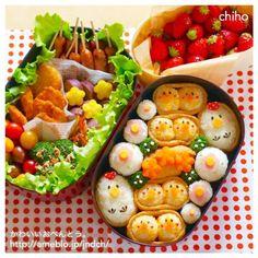 今年のお花見弁当です♡ - 254件のもぐもぐ - にわとり&ひよこいなりのピクニック弁当♡ by jndch Japanese Food Art, Japanese Snacks, Cute Food, Good Food, Yummy Food, Aesthetic Food, Lunch Recipes, Kids Meals, Food Porn