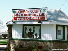 Photo of the Johnson County 4-H Agricultural Fair welcome sign near Franklin, Indiana