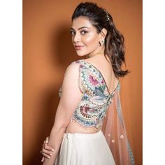 Actress Kajal Aggarwal Latest Stills Gallery Blouse Back Neck Designs, Fancy Blouse Designs, Dress Indian Style, Indian Fashion Dresses, Wedding Lehenga Designs, Lehnga Dress, Lehenga Blouse, Stylish Blouse Design, Indian Designer Wear