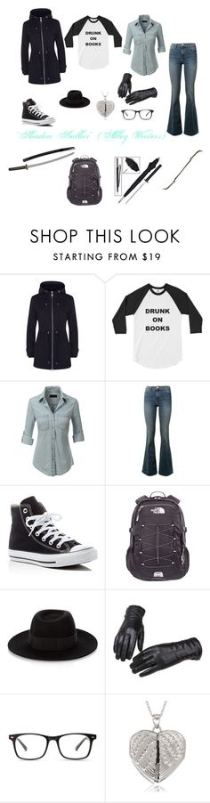 """""""Shadow Stalkers #1"""" by allisonwang10011 ❤ liked on Polyvore featuring Jaeger, LE3NO, Frame Denim, Converse, The North Face, Maison Michel and La Preciosa"""