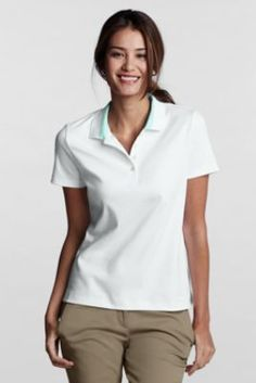 Women's Regular Short Sleeve Tipped Pima Polo from Lands' End