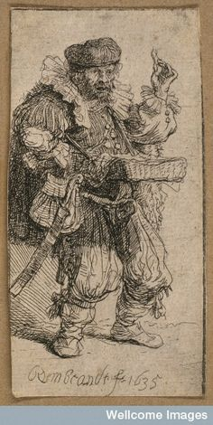 Credit: Wellcome Library, London. A travelling medicine vendor. Etching by Rembrandt.  1635. By: Rembrandt Harmenszoon van Rijn.