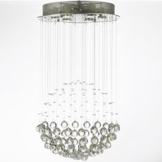 Harrison Lane Modern 6-Light Chrome Flushmount Crystal Raindrop Chandelier