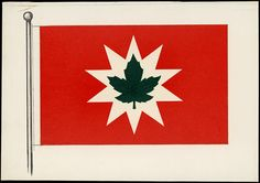 Proposal for a new #Canadian #flag submitted by an anonymous designer (1964). The submission comprises a white star-shape on a red background with a green maple leaf in the centre.