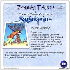 Zodiac Tarot for November 17: Sagittarius <br>  http://ifate.com