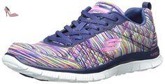 Skechers  Flex Appeal Whirlwind, Chaussures de Running Compétition femme - Bleu - Blue (Nvmt), 38 EU - Chaussures skechers (*Partner-Link)