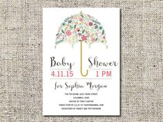 Floral Umbrella Baby Shower Invitation Printable, Baby Shower Invite, 5 x 7, BABS#6