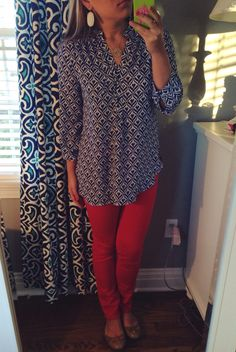 Ootd  Top- Francesca's  Pants- c wonder  Shoes- tory burch Earrings- Kendra scott