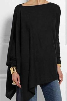 Round Neck Long Sleeve Cotton-blend Shirts & Tops For Women Casual Blouse Mode Outfits, Casual Outfits, Fashion Outfits, Casual Shirts, Girl Outfits, Blusas Oversized, Look Fashion, Winter Fashion, Fast Fashion