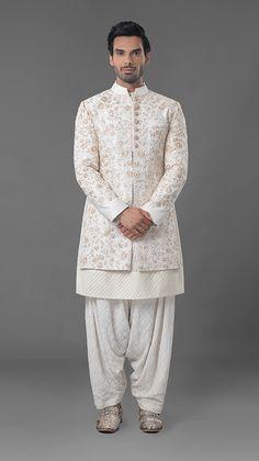 9474c2895ba Cream floral MM classical zardosi indowestern sherwani with qurta.To order  whatsapp 91-8888328116