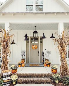 fall front porch, halloween decor, front porch, spooky Old Time Pottery has the perfect spooky décor. These jack-o-lantern planters are my favorite. If you aren't into Halloween you can turn them around for a pretty pumpkin planter. Nail Art Halloween, Halloween Home Decor, Fall Home Decor, Autumn Home, Holidays Halloween, Halloween Crafts, Vintage Halloween, Outdoor Halloween, Happy Halloween