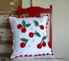 Cute chenille cherry pillow   I think red rick rack would look better than fuzzballs. covered buttons for the cherries