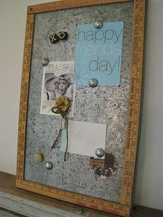 "metal ""bulletin board"" - perhaps a better idea for my kids' room than a traditional bulletin board with pushpins. Just think how much cleaner the fridge would look. Ruler Crafts, Craft Stick Crafts, Crafts To Do, Diy Crafts, Beaded Crafts, Diy Craft Projects, Craft Ideas, Diy Ideas, Yard Sticks"