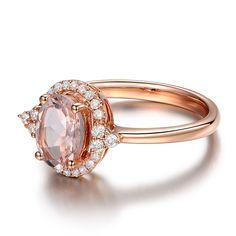 Vintage 2 Carat Morganite and Diamond Engagement Ring in Rose Gold ...