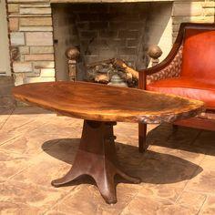 Walnut coffee table on antique cast iron base by RoseRockFurniture