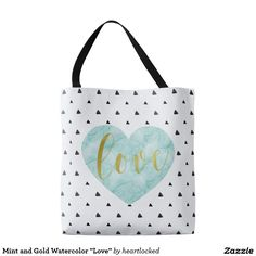 """Mint and Gold Watercolor """"Love"""" Tote Bag"""