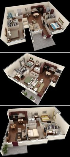 17 New Ideas For Apartment House Plans Decor 2 Bedroom Apartment Floor Plan, 2 Bedroom House Plans, Apartment Layout, Apartment Plans, Apartment Design, 3d House Plans, Best House Plans, Modern House Plans, Small House Plans