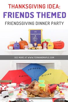 Can there BE a better Friendsgiving theme than the TV show Friends? Invite your friends over for a fun themed Thanksgiving dinner, with DIY decor including umbrella backdrop, place cards with names from the show, and more. Get all of the details now at fernandmaple.com!