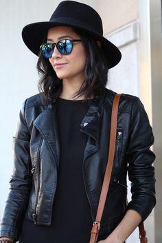 Leather Jacket | Wool Fedora | Mirrored Sunglasses
