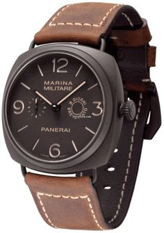 Panerai Radiomir Composite Marina Militaire Brown Dial Leather Mens Watch PAM00339