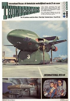 Thunderbird 2 - A heavy-duty transporter aircraft designed to carry specialized rescue vehicles and equipment to disaster sites in one of six interchangeable pods. Featured in the British sci-fi supermarionation television series, Thunderbirds. Science Fiction, Joe 90, Thunderbirds Are Go, Classic Sci Fi, Classic Films, 3d Models, Scale Models, Film Serie, Shows