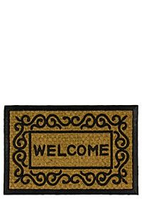 This pretty coir Welcome doormat has a rubber border detail and is ideal for the front door. Make your guests feel very welcome before they can even step i Mats, Rugs On Carpet, Floor Runners, Coir, Rubber, Rugs, Welcome Door Mats, Home Decor Shops, Rug Size Guide