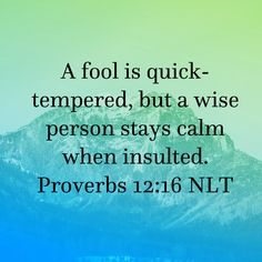 Proverbs A fool is quick-tempered, but a wise person stays calm when insulted. Healing Bible Verses, Bible Verses About Faith, Prayer Scriptures, Biblical Quotes, Prayer Quotes, Scripture Verses, Godfather Quotes, Bible Proverbs, Faith Messages