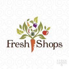This is a unique logo design creates a tree with organic farmers vegetables. #logo #business #design